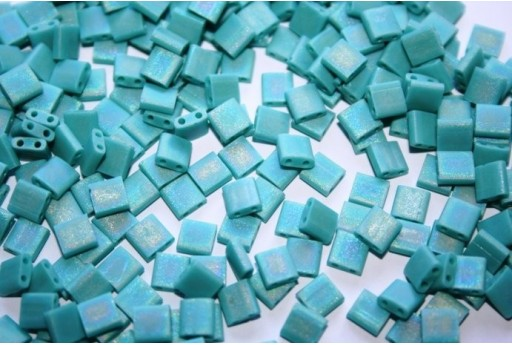 Miyuki Tila Beads Matte Opaque Turquoise AB 5mm - 5gr