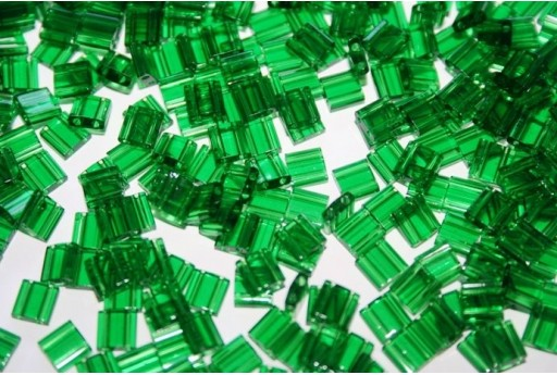 Miyuki Tila Beads Transparent Green Luster 5mm - 5gr
