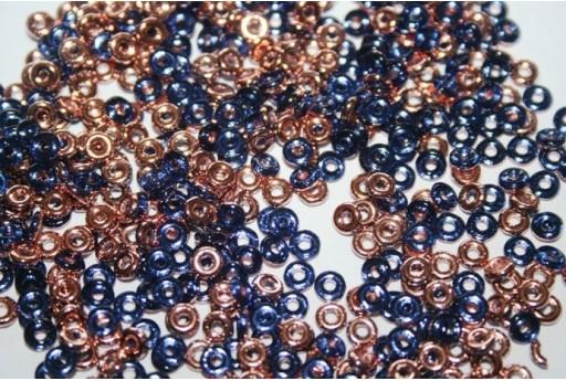 Perline O Bead 1x3,8mm, 5gr, Sapphire Capri Gold Col.3005027