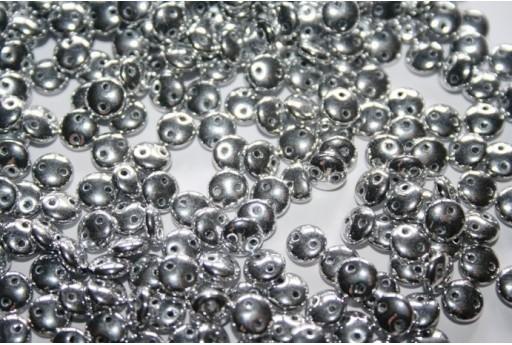 Lentil Beads 6mm, 50Pz., Silver