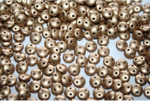 Lentil Beads 6mm, 50Pz., Matte Metallic Flax