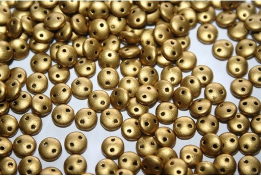Lentil Beads 6mm, 50Pz., Matte Metallic Aztec Gold