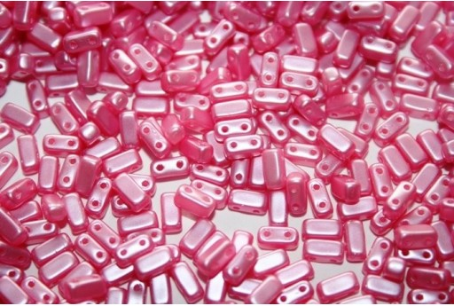 Bricks Beads Pink Pearl 3x6mm - 50pz