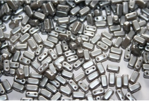Perline Bricks CzechMates 3x6mm, 50Pz., Silver Pearl Col.25028AL