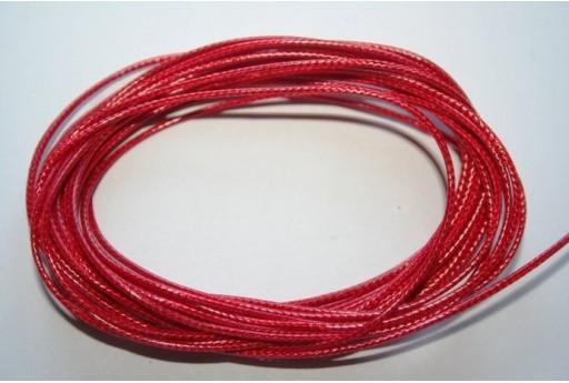 Filo Poliestere Cerato Rosso Corallo 1mm, 12mt. MIN125M