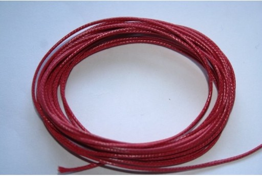 Red Waxed Polyester Cord 1mm - 12m MIN125N