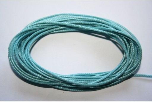 Aquamarine Waxed Polyester Cord 1mm - 12m MIN125R