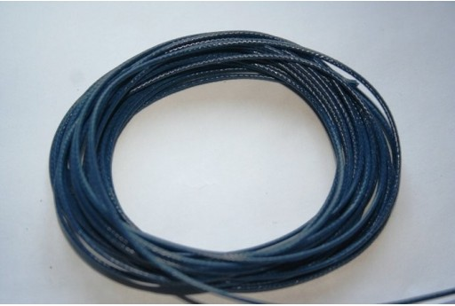 Navy Blue Waxed Polyester Cord 1mm - 12m MIN125T