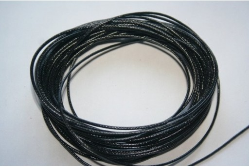 Black Waxed Polyester Cord 1mm - 12m MIN125U