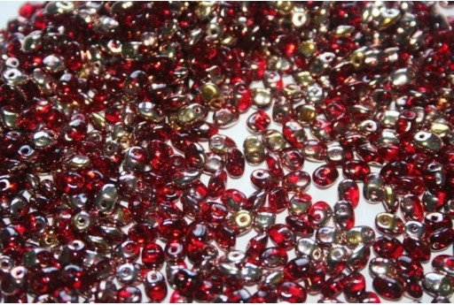 Perline SuperUno 2.5x5mm, 10gr.,  Ruby/Capri Gold Col.8027