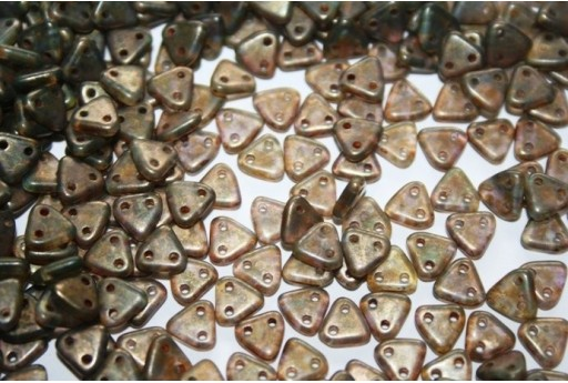 Triangle Beads Aquamarine-Copper Picasso 6mm - 8gr