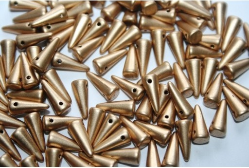 Spikes Beads 4x10mm, 30pz., Matte Metallic Flax