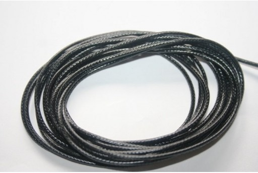 Black Waxed Polyester Cord 1,5mm - 12m MIN132G