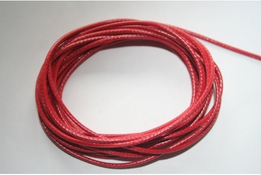 Coral Red Waxed Polyester Cord 1,5mm - 12m MIN132V