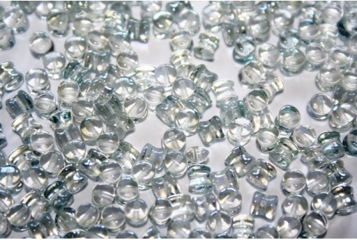 50 Perline Pellet 4x6mm Aqua Dark Travertin Col. 86800
