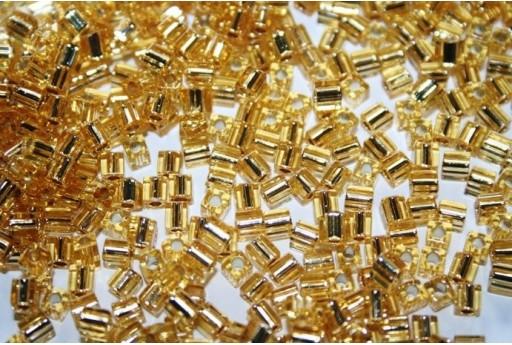 Perline Miyuki Cubo Silver Lined Gold 4x4mm - 10gr