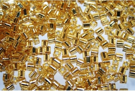 Miyuki Cube Beads Silver Lined Gold 4x4mm - 10gr