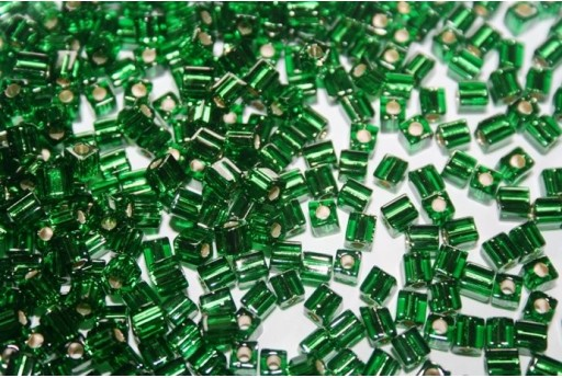Perline Miyuki Cubo Silver Lined Grass Green 4x4mm - 10gr