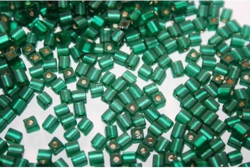 Miyuki Cube Beads Matte Silver Lined Emerald 4x4mm - 10gr