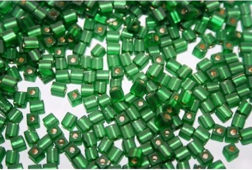 Miyuki Cube Beads Matte Silver Lined Green 4x4mm - 10gr