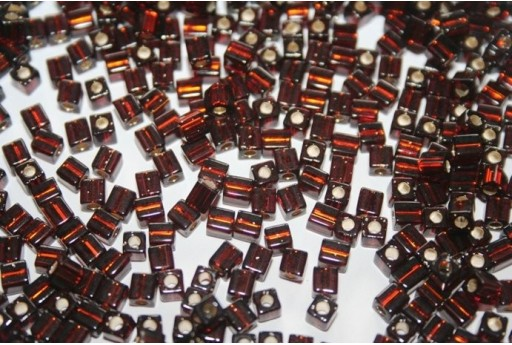 Miyuki Cube Beads Silver Lined Brown 4x4mm - 10gr