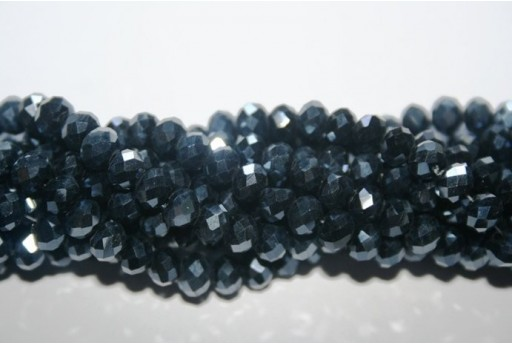 Chinese Crystal Beads Faceted Rondelle Luster Black 6x4mm - 100pz