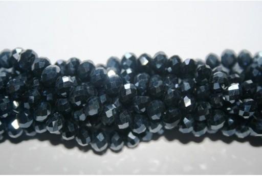 Filo 100 Perline Vetro Rondella Sfaccettata Luster Black 6x4mm VE68B