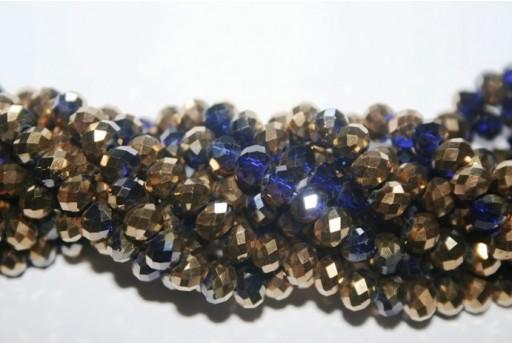 Filo 100 Perline Vetro Rondella Sfaccettata Oro/Viola 6x4mm VE68L