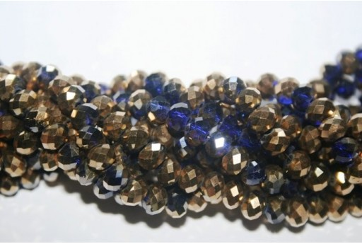 Chinese Crystal Beads Faceted Rondelle Gold/Violet 6x4mm - 100pz