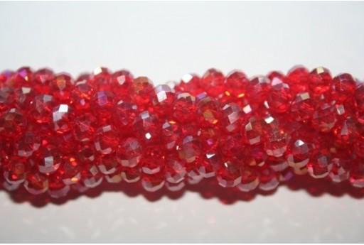 Filo 100 Perline Vetro Rondella Sfaccettata Rosso AB 6x4mm VE68N
