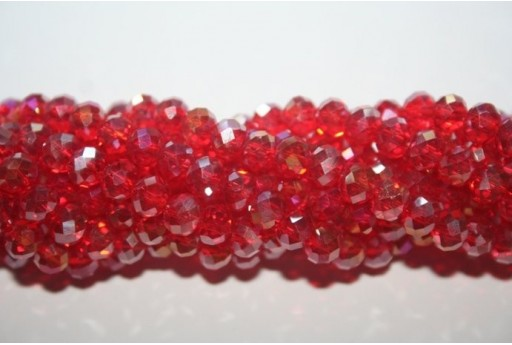 Chinese Crystal Beads Faceted Rondelle Red AB 6x4mm - 100pz