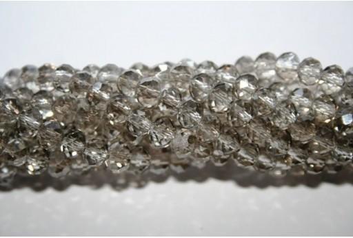 Filo 100 Perline Vetro Rondella Sfaccettata Grigio Chiaro 6x4mm VE68Q