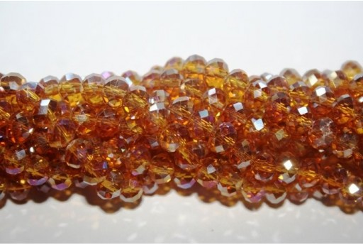 Chinese Crystal Beads Faceted Rondelle Amber AB 6x4mm - 100pz