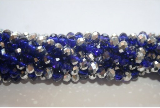 Chinese Crystal Beads Faceted Rondelle Blue/Silver 6x4mm - 100pz
