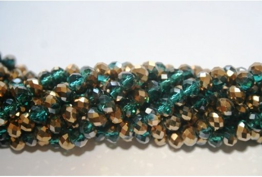 Chinese Crystal Beads Faceted Rondelle Green/Gold 6x4mm - 100pz