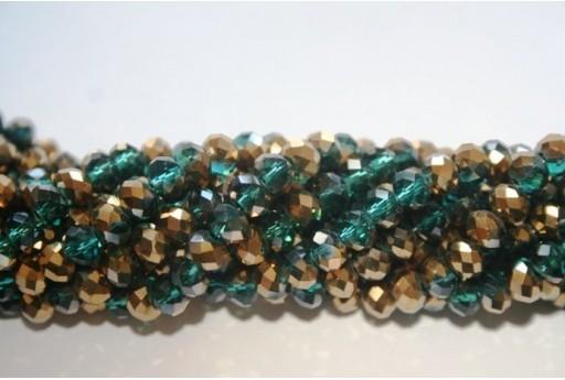 Perline Vetro Rondella Sfaccettata Verde/Oro 6x4mm - 100pz