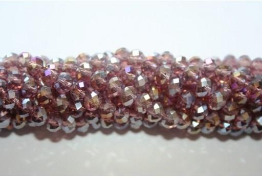 Filo 140 Perline Vetro Rondella Sfaccettata Rosso/Oro 4x5mm VE67A