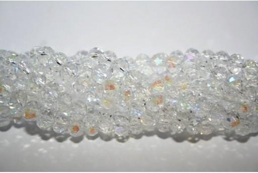 Filo 100 Perline Vetro Rondella Sfaccettata Crystal AB 6x4mm VE68W