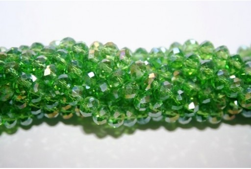 Chinese Crystal Beads Faceted Rondelle Green AB 6x4mm - 100pz
