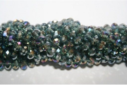 Filo 100 Perline Vetro Rondella Sfaccettata Grigio AB 6x4mm VE68AB