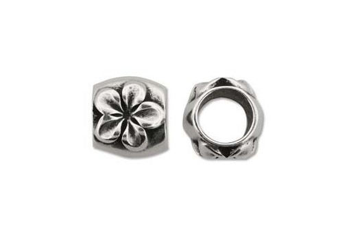 Climbing Silver Flower Spacer Charm Bead 15x17mm - 1pc