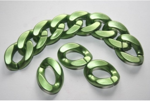 Acrylic Beads Rings Green 23x18mm - 24pz