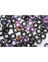 Glass Ring Beads Jet Sliperit 9mm - 15pz