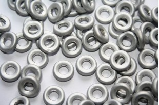 15 Perline Glass Rings 9mm Silver 1/2 Labrador Col.27001