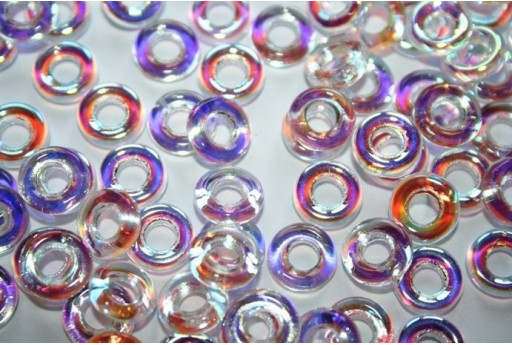 Perline Glass Rings 9mm, 15Pz., Crystal AB Col.28701