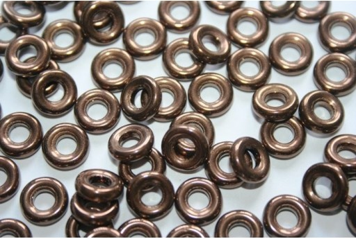 Glass Ring Beads Jet Bronze 9mm - 15pz