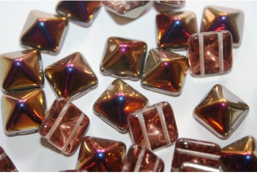 Perline Pyramid 12X12mm, 5Pz., Crystal Sliperit Col.29500
