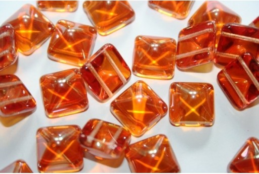 Pyramid Beads 12X12mm, 5Pz., Crystal Apricot Medium Col.29121