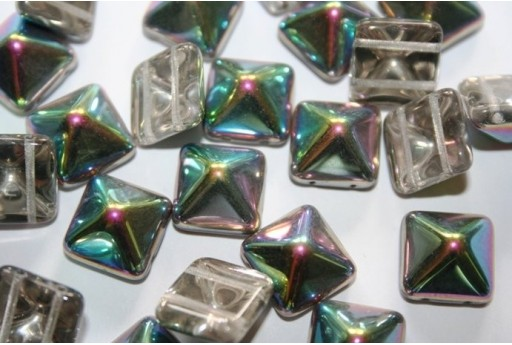 Perline Pyramid 12X12mm, 5Pz., Crystal Vitrail Col.28101
