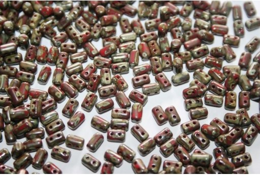Perline Rulla 3x5mm, 10gr., Opaque Red-Picasso